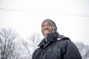 CLEVELAND, OH - March 1: Ricky Jackson stands for a portrait in the snow outside of his apartment on March 1, 2015 in Cleveland, Ohio. Jackson, America's longest-serving wrongfully convicted prisoner, served 39 years and was released through the help of the Ohio Innocence Project. Photo by Ann Hermes/The Christian Science Monitor