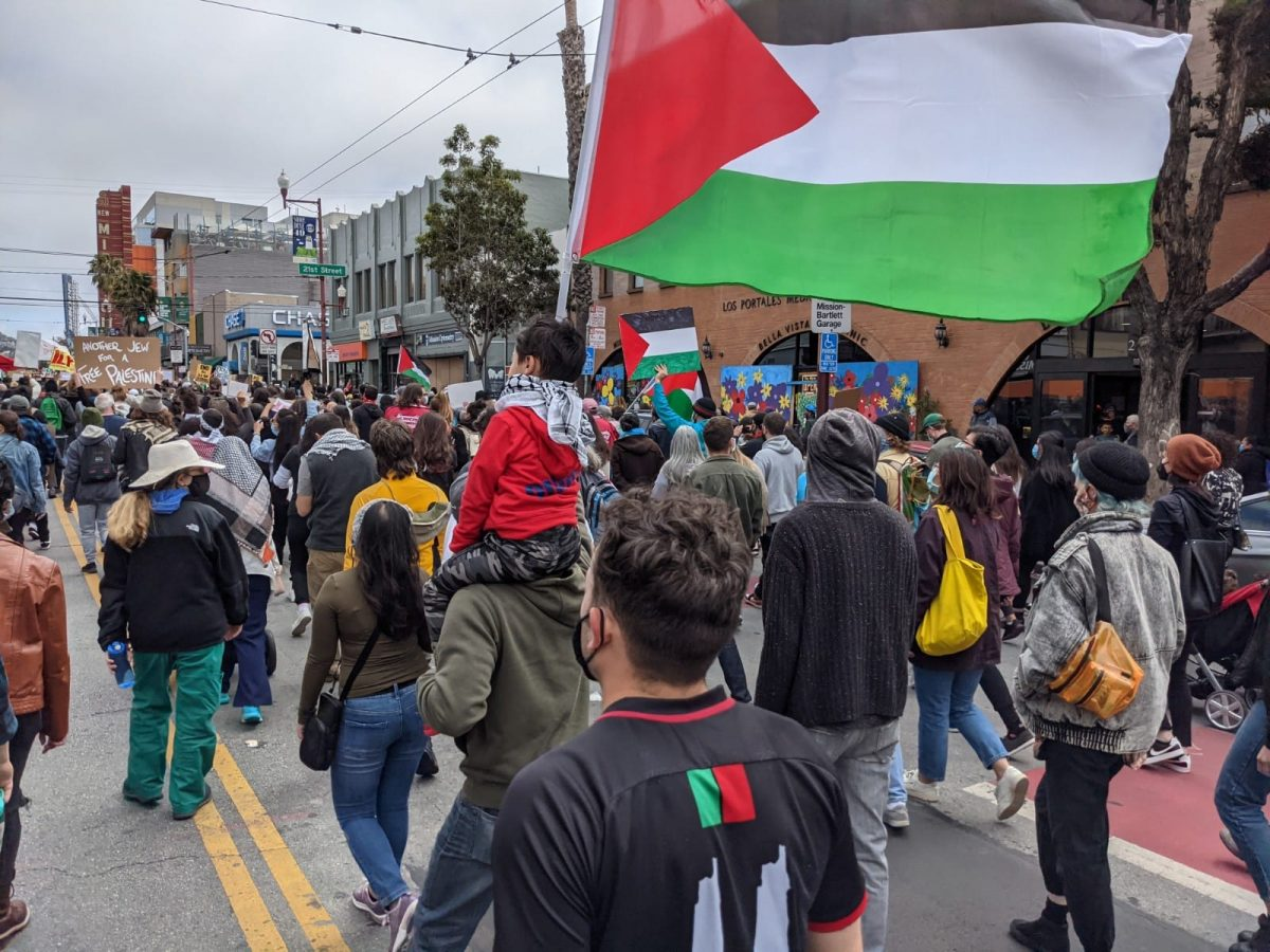 Protesters marching the streets in Bay Area, California